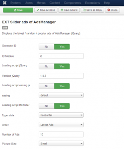 Slider ads of AdsManager module