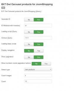 Owl Carousel products for JoomShopping module